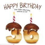 Happy Birthday in Keksschrift zum 36. Geburtstag