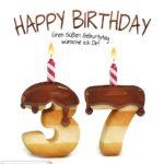 Happy Birthday in Keksschrift zum 37. Geburtstag