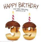 Happy Birthday in Keksschrift zum 39. Geburtstag