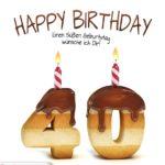 Happy Birthday in Keksschrift zum 40. Geburtstag