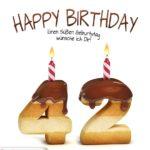 Happy Birthday in Keksschrift zum 42. Geburtstag