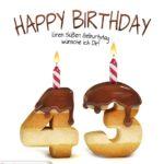 Happy Birthday in Keksschrift zum 43. Geburtstag