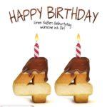 Happy Birthday in Keksschrift zum 44. Geburtstag