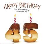 Happy Birthday in Keksschrift zum 45. Geburtstag