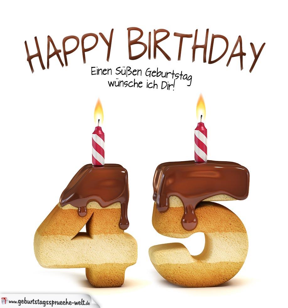 Glckwnsche Geburtstagskarte 45 Geburtstag Mit Torte T Shirt