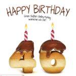 Happy Birthday in Keksschrift zum 46. Geburtstag