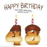 Happy Birthday in Keksschrift zum 48. Geburtstag