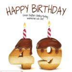 Happy Birthday in Keksschrift zum 49. Geburtstag