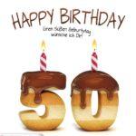 Happy Birthday in Keksschrift zum 50. Geburtstag