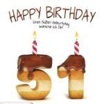 Happy Birthday in Keksschrift zum 51. Geburtstag