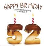 Happy Birthday in Keksschrift zum 52. Geburtstag