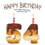 Happy Birthday in Keksschrift zum 54. Geburtstag