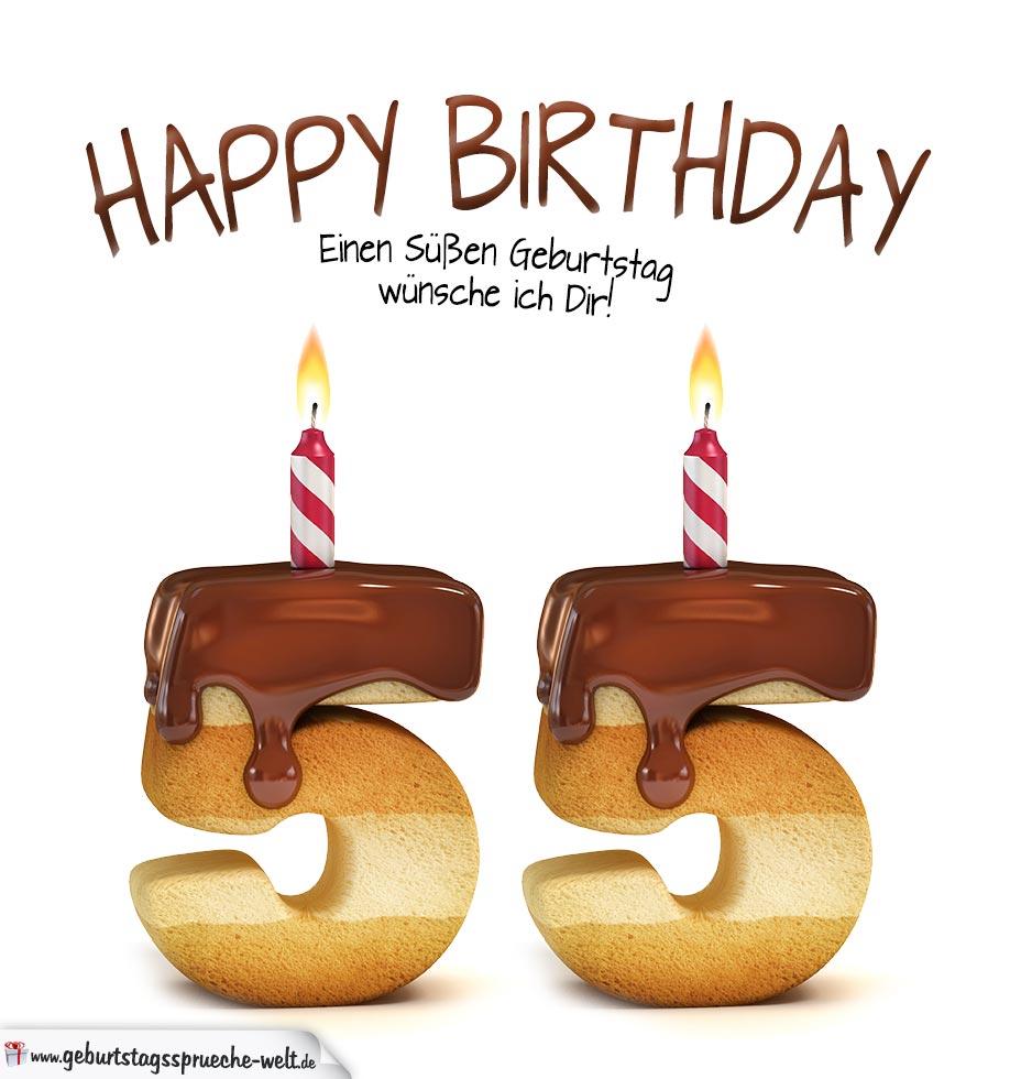 Happy Birthday In Keksschrift Zum 55. Geburtstag