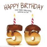 Happy Birthday in Keksschrift zum 56. Geburtstag
