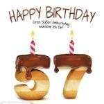 Happy Birthday in Keksschrift zum 57. Geburtstag