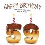 Happy Birthday in Keksschrift zum 59. Geburtstag