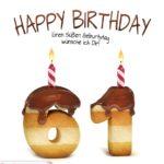 Happy Birthday in Keksschrift zum 61. Geburtstag