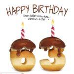 Happy Birthday in Keksschrift zum 63. Geburtstag