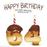 Happy Birthday in Keksschrift zum 64. Geburtstag