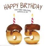 Happy Birthday in Keksschrift zum 65. Geburtstag