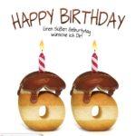 Happy Birthday in Keksschrift zum 66. Geburtstag