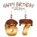 Happy Birthday in Keksschrift zum 67. Geburtstag