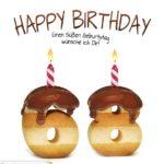 Happy Birthday in Keksschrift zum 68. Geburtstag