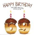 Happy Birthday in Keksschrift zum 69. Geburtstag