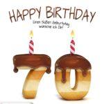 Happy Birthday in Keksschrift zum 70. Geburtstag