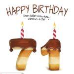 Happy Birthday in Keksschrift zum 71. Geburtstag