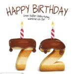 Happy Birthday in Keksschrift zum 72. Geburtstag