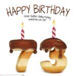Happy Birthday in Keksschrift zum 73. Geburtstag