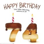Happy Birthday in Keksschrift zum 74. Geburtstag