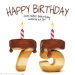 Happy Birthday in Keksschrift zum 75. Geburtstag