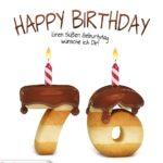 Happy Birthday in Keksschrift zum 76. Geburtstag