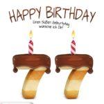 Happy Birthday in Keksschrift zum 77. Geburtstag