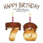 Happy Birthday in Keksschrift zum 78. Geburtstag