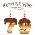 Happy Birthday in Keksschrift zum 79. Geburtstag