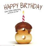Happy Birthday in Keksschrift zum 8. Geburtstag
