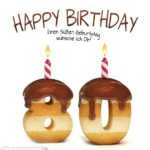 Happy Birthday in Keksschrift zum 80. Geburtstag
