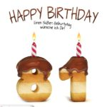 Happy Birthday in Keksschrift zum 81. Geburtstag