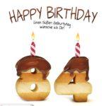 Happy Birthday in Keksschrift zum 84. Geburtstag