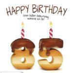 Happy Birthday in Keksschrift zum 85. Geburtstag