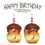 Happy Birthday in Keksschrift zum 86. Geburtstag