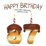 Happy Birthday in Keksschrift zum 87. Geburtstag