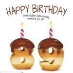 Happy Birthday in Keksschrift zum 89. Geburtstag
