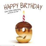 Happy Birthday in Keksschrift zum 9. Geburtstag