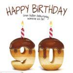 Happy Birthday in Keksschrift zum 90. Geburtstag