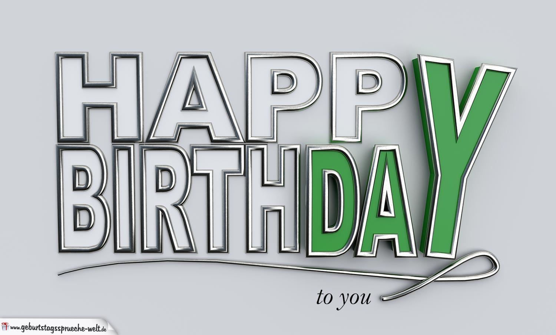 Happy Birthday to you Geburtstagskarte mit 3D Buchstaben