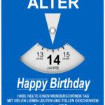Geburtstagskarte als Parkscheibe zum 14. Geburtstag